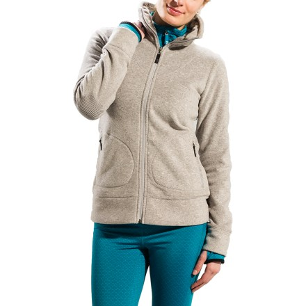 The Lole Tradition fleece cardigan sweater looks casual but performs like your favorite high-tech fleece. Quick-drying, lightweight and highly breathable, this heathered polyester fleece has an anti-pill finish on both sides; it's extremely versatile, super warm and fashionable. Fabric provides UPF 50+ sun protection, shielding skin from harmful ultraviolet rays. Stand-up collar with hidden elastic. Zip hand pockets and an internal mesh pocket. - $69.93
