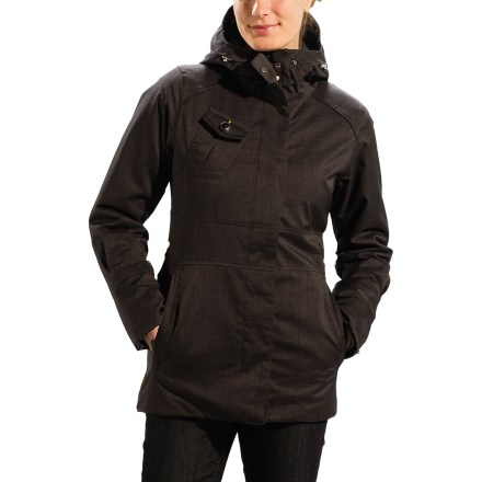 The Lole Masella jacket is a lightweight, insulated parka that's big on city cachet and down-to-earth practicality. Fabric is spun from a soft blend of recycled and regular polyester, and treated with a Durable Water Repellent finish to slough off moisture and stains. Waterproof, breathable laminate keeps you dry and strategically sealed seams keep rain from seeping in. Thermaglow(TM) midweight synthetic insulation warms you even if it gets damp. Warmly lined, adjustable hood snugs down for warmth. Center front zipper has an exterior flap with easy-grip snap button closures. Lole Masella jacket has zip hand pockets and a patched-on chest pocket with snap-flap closure. - $174.93