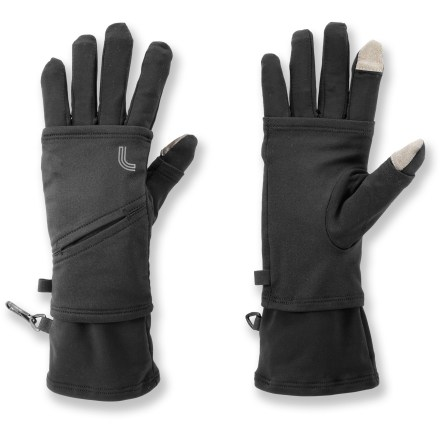 Camp and Hike These 2-in-1 Lole Love gloves feature wrist warmers layered on top of gloves for warmth and versatility on cold winter days. Wear just the gloves, just the wrist warmers or both depending on the temperature. Special fabric on the thumbs and index fingers allows you to work your touch-sensitive devices, such as cell phones and digital music players, without taking the gloves off. Thumbs and index fingers also have small slits in them so you can poke your fingers out for tasks that require fine dexterity. Left wrist warmer includes a small slit pocket that can hold a digital music player. Lole Love gloves have a brushed microfleece interior that is soft and comfortable next to skin. - $27.93