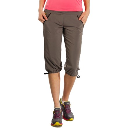 Camp and Hike The versatile Romp Capri pants provide a flattering fit and kicked-back style. They're great for travel and active wear. Recycled Momentum 4-way stretch fabric is lightweight, soft next to skin and retains its flattering shape; it dries quickly and resists wrinkles. Recycled polyester comes from post-consumer plastic bottles. Fabric provides UPF 50+ sun protection, shielding skin from harmful ultraviolet rays. Drawcord at waistband personalizes the fit. Legs also have drawcords to adjust the look and fit. 2 hand pockets and a zip coin-size pocket at hip. Lole Romp Capri pants have a casual, relaxed fit with a low rise. - $48.93