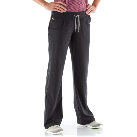 The Lole Refresh pants offer a flattering fit, and they're oh-so-comfy against the skin. They're great for travel and active wear. Recycled Momentum 4-way stretch fabric is lightweight, soft next to skin and retains its flattering shape; it dries quickly and resists wrinkles. Recycled polyester comes from post-consumer plastic bottles. Fabric provides UPF 50+ sun protection, shielding skin from harmful ultraviolet rays. Drawcord at waistband personalizes the fit. Legs also have drawcords to adjust the look and fit. 2 hand pockets and a zip coin-size pocket at hip. Lole Romp Capri pants have a casual, relaxed fit with a low rise. - $58.93