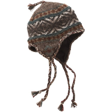 Ski The Lost Horizons wool earflap hat, handcrafted in Nepal, features a colorful design that coordinates well with any cold-weather outfit. Wool is a natural insulator: warm, soft and breathable to keep you comfortable in the great outdoors. Polyester fleece lining wicks moisture and is soft next to skin. Earflap design keeps your entire head warm. Dry clean or hand wash in cold water; lay flat to dry. Special buy. - $15.83
