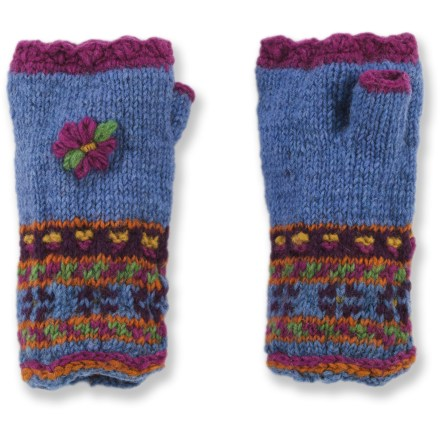 Ski Handcrafted with care in Nepal, the colorful knit Lost Horizon Kelsey Handwarmer gloves keep your palms cozy without sacrificing dexterity. Wool is a natural insulator: warm, soft and breathable to keep you comfortable in the great outdoors. Microfleece lining is exceptionally soft against your skin. Dry clean or hand wash in cold water; lay flat to dry. Special buy. - $15.83