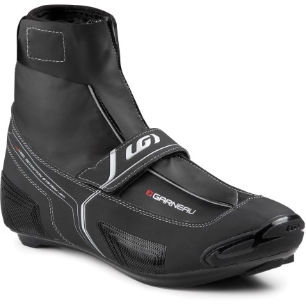 Fitness Don't let winter freeze your riding regime! The Louis Garneau Glacier RD bike shoes are designed for cold and wet conditions with an insulated sole system for warmth. Stiff fiberglass-reinforced outsoles ensure efficient power transfer to pedals. Aluminum coated insoles provide insulation to protect from the cold. Road shoes feature an inner shoe with single pull laces for a secure fit. Thinsulate(TM) insulation keeps feet warm over the long haul. Synthetic uppers feature a waterproof lining. Seam-sealed zipper at the front and rip-and-stick closure at top keep out the harsh elements. Rip-and-stick power strap across forefoot provide a secure and custom fit. Reflective piping increases visibility in low light. - $89.83