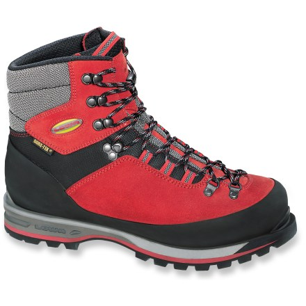 Camp and Hike Versatile mountain boots for difficult, mixed terrain, Lowa Mountain Expert GTX mountaineering boots feature tough leather construction with Gore-Tex(R) protection. Thick and durable split-grain leather uppers, with Cordura(R) nylon at cuffs and tongues, deliver ample support, durability and abrasion resistance. Seam-sealed Gore-Tex(R) liners with wicking polyester linings deliver complete protection and allow moisture vapor to escape. Full rubber randing protects feet and uppers from abrasion and impact, and help increase edging effectiveness. Warm, light and nonbulky PrimaLoft(R) polyester microfiber insulation delivers great warmth. Durable, shock-absorbing polyurethane midsoles feature a thin upper layer of EVA to supply all-day cushioning and comfort. Rigid, full-length nylon shanks control flex and add the stability needed during use on rough terrain and with crampon use. Vibram(R) outsoles deliver solid traction on mixed terrain; outsoles are step-in crampon compatible (sold separately). - $261.93