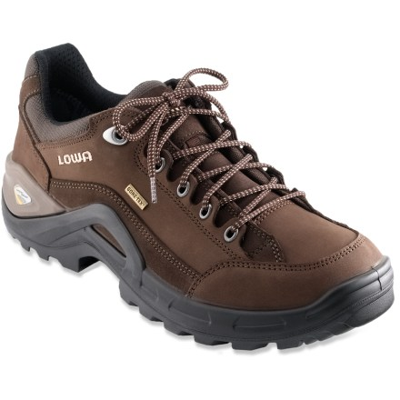 Fitness With enough support for weekend lightweight backpacking trips, the Lowa Renegade II GTX Lo cross-training shoes supply great versatility in a small, lightweight design. Water-repellent nubuck leather uppers deliver durability and breathability; external polyurethane frames offer support and reduce need for extra internal padding and weight. Gore-Tex(R) membranes keep out the wet stuff while still allowing your feet to breathe; polyester linings manage excess moisture to keep feet dry. Padded ankles and tongues relieve pressure and add comfort; Derby-cut lacing fits a wide variety of foot volumes. Contoured polyurethane midsoles with stabilizing nylon shanks provide dependable cushioning, shock absorption and support. Vibram(R) Renovo rubber outsoles with an aggressive tread pattern deliver a stable base and all-terrain traction. - $139.93