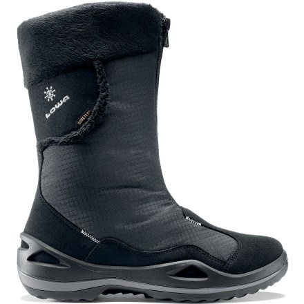 Camp and Hike Lowa Solden GTX women's winter boots blend style and winter-ready performance to ensure your feet are comfortable when the mercury drops and the snow piles up. Lightweight, flexible and resilient nylon uppers feature synthetic microfiber overlays for structure, support and protection; front zipper makes for easy entry and exit. Gore-Tex(R) linings pair waterproof, breathable membranes with Partelana fleece-a blend of wool and polyester-for excellent moisture wicking. Comfort rated to -5degF during active use for cozy warmth in cold conditions. Polyurethane midsoles supply the right combination of support and cushioning. Nylon shanks boost stability on uneven terrain and support your arches for all-day comfort. Rubber outsoles on the Lowa Solden GTX women's winter boots provide reliable traction on a variety of terrain. - $98.83