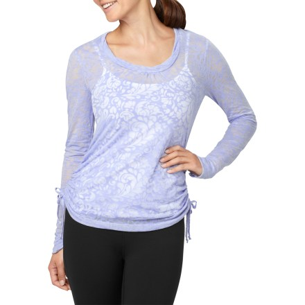 Fitness The lucy Pranayama Burnout top helps you find harmony within by offering the utmost in comfort on the outside. Cotton and polyester blend is exceptionally soft against your skin; burnout treatment creates a chic, textured effect. Scoop neck with slight ruching creates an elegant look. The lucy Pranayama Burnout top features dual side drawcords to cinch up the body. - $40.93
