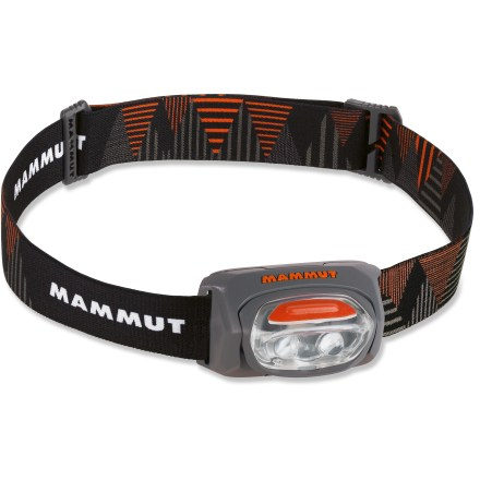 Camp and Hike An essential for any backpack, suitcase or car glove compartment, the Mammut T-Base headlamp weighs only 2.5 oz. and has a bright white beam that can be adjusted to 2 brightness levels. 2 LEDs have excellent optical clarity to give you clear, bright floodlight for medium-range lighting tasks; LEDs output 30 lumens and illuminate objects up to 20m away. Light up the night with 2 brightness levels (low and high) and an emergency strobe. 3 AAA batteries (included) provide up to 80 hrs. of use on low and 20 hrs. on high. Double-click switch-lock prevents accidentally running down the batteries while the Mammut T-Base headlamp is stowed in your backpack. - $13.83