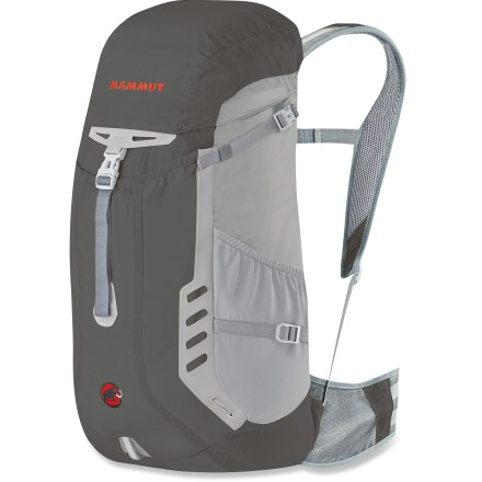 Camp and Hike The light Mammut Lithium 32 pack combines single-chamber simplicity and clean lines with a technical, rugged design that pares down weight to a minimum without losing functionality. Breathable mesh shoulder straps and padded hipbelt provide direct body contact and good ventilation. Padded and mesh-covered back panel helps wick away perspiration and vent excess body heat. V-shaped aluminum frame supports the load and helps transfer weight to the hipbelt. Hydration-compatible design features a reservoir sleeve with hanging tabs and a sip-tube exit port for on-the-go hydration (reservoir sold separately). 2 lid pockets, hipbelt pocket, front storage compartment and side stretch pockets let you organize a headlamp, maps, batteries, water bottles and other essentials. The Mammut Lithium 32 pack features stowable trekking-pole holder, diagonal-carry ski attachment and straps with reflective accents. - $83.93