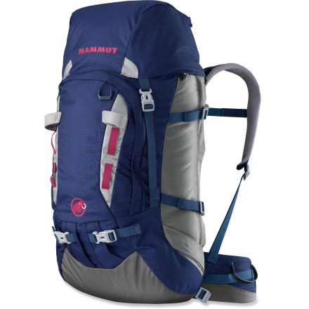 Climbing The Mammut Trea Guide 40 + 7 pack is designed with a women-specific fit and all the rugged function and features of a robust mountaineering pack. A floating lid adds extra volume ropes and other gear. - $149.93