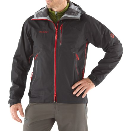 From expeditions to multipitch climbs, the Mammut Masao Rain jacket keeps you protected from changing weather conditions. Smooth polyester shell features a DRYtech(TM) 3-layer waterproof breathable laminate for superior wind and rain protection; jacket is fully seam sealed. Nylon tricot lining easily slides over base layers. Hood can be adjusted vertically and horizontally, and is helmet compatible. Pit zippers let you vent body heat quickly. Watertight 2-way front zipper features an inner stormflap to keep the wind out. Zippered chest pocket and zippered handwarmer pockets. Drawcord hem keeps the cold out and features 1-hand adjustment. Mammut Masao Rain jacket features rip-and-stick cuffs. - $194.93
