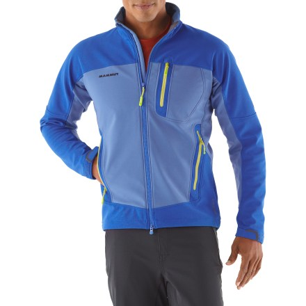 Ski The Mammut Plano jacket outfits you for backcountry adventures, from snowshoeing to ski tours to bouldering and hanging at the crag. 3-layer polyester soft-shell fabric features a polyurethane membrane for superior water resistance; seams are not sealed. Soft polyester fleece lining offers additional warmth and comfort. Preshaped sleeves move with you. Collar can be quickly adjusted with 1 hand. Zippered chest pocket and zippered handwarmer pockets keep small items secure. Drawcord hem and rip-and-stick cuffs keep the cold out. - $138.93