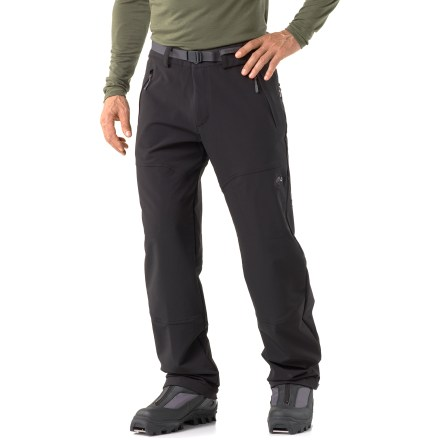 Camp and Hike Snowshoers, Nordic skiers and winter landscape explorers will enjoy the comfort and warmth of the Mammut Bask pants. Polyamide/polyester/spandex blend stretch fabric provides reliable warmth against the cold. Zippered fly with button closure for a easy on; includes a removable webbing belt. Leg hems feature button adjustments for a custom fit. 2 zippered side pockets for quick access to small items. Bask pants feature 2 zippered rear pockets and 2 zippered front pockets. Mammut Bask pants offer a regular fit. - $149.00