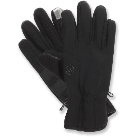 Surf Pull on the Manzella Equinox TouchTip(TM) gloves for toasty warmth while you surf the web and listen to tunes on your touch-screen smart phone or digital music player. Gloves have soft-shell backs and stretchy fleece palms for great warmth and comfort. TouchTip material on the thumbs and forefingers lets you operate a touch-screen device while wearing the gloves. Palms are reinforced with synthetic suede. - $25.00