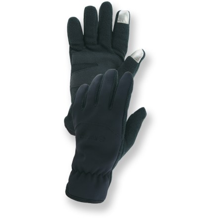Fitness Pull on the Manzella Hybrid TouchTip(TM) gloves for toasty warmth while you surf the web and listen to tunes on your touch-screen smart phone or digital music player. Gloves have soft-shell backs and stretchy fleece palms for great warmth and comfort. TouchTip material on the thumbs and forefingers lets you operate a touch-screen device while wearing the gloves. Palms are reinforced with synthetic suede. Please note: unisex sizing is based on the men's size chart. - $16.93