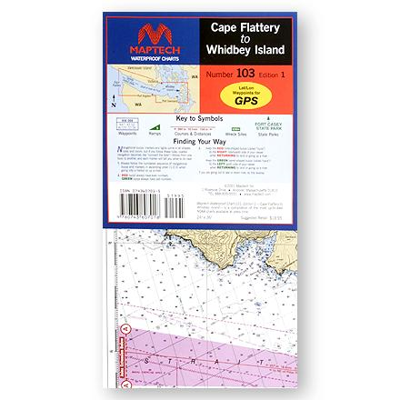 Camp and Hike Navigational chart covers the Straight of Juan de Fuca from Cape Flattery to Whidbey Island, featuring GPS waypoints for major buoys and channels. Includes pre-plotted courses and distances, plus pleasant harbor state park locations and public boat launch locations. Printed on high-quality, waterproof synthetic paper with crisp, easy-to-read images. Flip-fold chart offers the convenience of spreading chart out to its full width or keeping it folded and flipping to your favorite area. Double-sided map measures 24 x 36 inches; folds to 6 x 12 inches. Includes insets of Deception Pass, Port Townsend and the Port Townsend Canal. Approximate scale 1:106,666. - $10.93