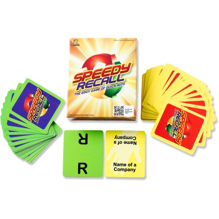 "Camp and Hike The Maranda Enterprises Speedy Recall card game goes anywhere and offers thousands of combinations, challenging up to 6 players to think and speak fast. Quick! What's a movie that starts with ""R""? A fruit that starts with ""M""? A book character who's name starts with ""P""?. Put the Letter cards in 1 stack, the Category cards in another, then flip over both top cards and try to be the first to call out a correct answer. Collect category cards to keep score. The Maranda Enterprises Speedy Recall card game comes with 41 Category cards, 24 Letter cards and instructions. - $8.93"