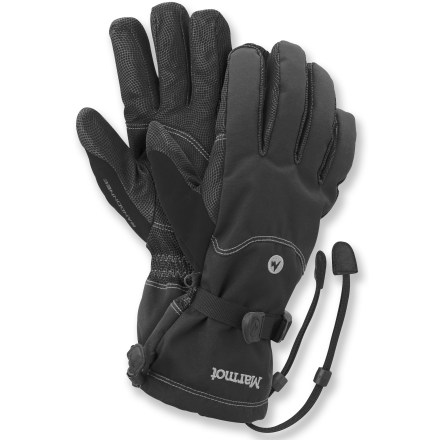 Ski With an anatomic design and the use of top-quality materials, the Marmot Randonnee Gore-Tex gloves keep hands warm and dry while you tour the backcountry. Abrasion-resistant MemBrain(R) nylon shells with supple leather palms and thumbs offer a solid grip of backcountry equipment. Waterproof, highly breathable Gore-Tex(R) inserts keep your hands dependably dry and comfortable. Lightweight PrimaLoft(R) One insulation is an ultrafine microfiber blend that delivers downlike softness yet is water repellent. Polyester DriClime(R) microfiber linings allow breathability and provide excellent moisture transfer. Falcon Grip articulated fingers allow an easy, non-fatiguing grip. Soft fabric on the thumb gives you a gentle place to wipe your cold nose. Elastic and cinch straps at wrists and 1-hand-adjustable gauntlet drawcords seal out snow and seal in warmth. Safety leashes keep gloves attached to wrist when removed from hands. - $49.83