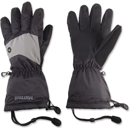 Camp and Hike Bring the Marmot Precip shell gloves on lightweight adventures to keep your hands dry and warm when cold, wet weather moves in. Nylon exteriors feature MemBrain(R) waterproof, breathable inserts to keep hands dry in snow and rain. DriClime(R) brushed tricot lining is soft and comfortable next to skin; lining wicks moisture to keep your hands dry and warm. Articulated fingers and thumbs create an easy, non-fatiguing grip; gloves are sized to fit over fleece liner gloves (sold separately). Lightweight gloves pack easily in a backpack or jacket pocket; pair of size large gloves weigh only 4 oz. 1-hand-adjustable gauntlet drawcords seal out snow and seal in warmth. Safety leashes keep Marmot Precip gloves attached to wrist when removed from hands. - $45.00