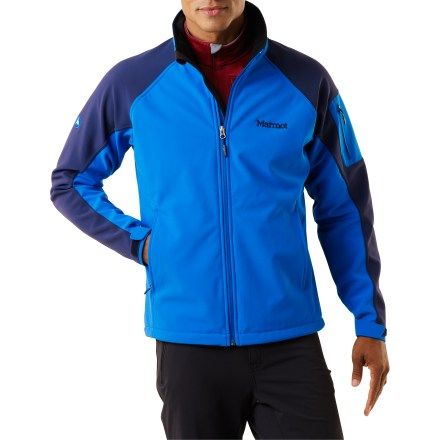 The Marmot Gravity soft-shell jacket offers a high level of water resistance and warmth and good breathability. It works best during intermittent aerobic activities in cold and wet weather. - $74.83