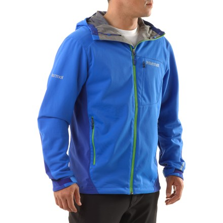 Climbing If you're looking for a lightweight, wind- and water-resistant soft shell, the Marmot ROM jacket should be at the top of the contender list. Gore WINDSTOPPER(R) fabric eliminates windchill, yet it's breathable and quickly dissipates excess moisture to keep you dry and warm. Marmot ROM jacket balances weather resistance, breathability and warmth; it performs in a wide variety of aerobic activities in moderate weather. Venting side panels add breathability. Soft-shell stretch is especially suited for comfort during active endeavors. Attached hood adjusts close to head for weather protection that needn't obstruct peripheral vision. Drawcord hem and adjustable, asymmetric cuffs. Pack Pockets(TM) are easy to access and accommodate a backpack or climbing harness; jacket also features an outside chest pocket. Angel-Wing Movement(TM) sleeves allows unrestricted range of motion and prevent jacket from lifting when arms are raised. - $91.83