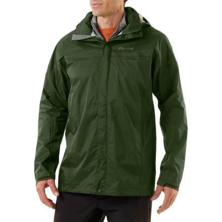 This season's Marmot PreCip tall rain jacket has an improved PreCip(R) Dry Touch waterproof, breathable coating. It's now more waterproof, more breathable and more comfortable to wear! All-season jacket is not only lightweight and compressible, but renowned for its water shedding, breathable performance and reliable comfort. PreCip still features a 2.5-layer waterproof, breathable polyurethane coating; ceramic particles add durability, waterproof reliability, and improved Dry Touch comfort. The next-to-skin Dry Touch finish reduces condensation, helping to eliminate that clammy feeling. 100% taped seams seal out the elements. Hood design with peripheral cord adjustment accommodates full visibility; hood rolls into integrated collar when not needed. PitZips(TM) allow built-up body moisture to escape. Double stormflap over front zipper secures with rip-and-stick closures; DriClime(R) chin guard wicks away moisture and is soft against skin. Features elastic drawcord hem. Pack Pockets(TM) allow easy access even with a pack on; 1 pocket serves as a stuff sack. The Marmot PreCip men's tall jacket is designed to fit over a fleece or soft shell. - $119.00