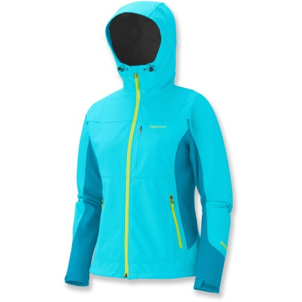 The Marmot Rom soft-shell jacket gives you the freedom to enjoy an active outdoor lifestyle. It keeps you comfortable, warm and protected across a wide range of weather conditions and activites. WindStopper(R) fabric eliminates windchill, yet it's breathable and capable of quickly dissipating excess moisture to keep you dry and warm; it's snow- and water-resistant. Venting side panels enhance the jacket's breathability. Attached hood adjusts for good visibility in all directions. Full-length front zipper has an interior draft flap and chin guard. Elastic drawcord hem and adjustable rip-and-stick cuffs. Hand pockets features smooth reverse-coil zippers. Active fit enhances freedom of movement while wearing the Marmot Rom jacket. - $128.93