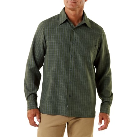 Camp and Hike The Marmot Eldridge shirt has a clean, crisp look, and its fabric has been sanded for extra softness against your skin. Smooth, midweight rayon/polyester fabric blend is made from partially recycled polyester; provides UPF 30 protection from harmful solar rays. 1 patch pocket on chest. Eldridge shirt has a regular fit. - $41.93