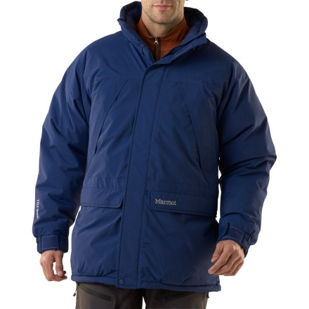 Wear the Marmot Yukon Classic parka in snow, sleet, freezing rain and other meteorlogical nastiness to keep the cold and wet at bay. Durable nylon shell uses a MemBrain(R) 2-layer waterproof, breathable laminate to fend off snow, wind and wetness. 650-fill-power goose down is extremely warm, lightweight and compressible. Taffeta lining pushes moisture away from your body to help regulate body temperature and dries quickly when damp. Versatile zip-off, down-filled hood with drawcord adjustment provides immediate protection from inclement weather. Down-filled draft tube backs front zipper to keep warmth in and an exterior stormflap keeps the cold from penetrating. Powder skirt seals out the spindrift. Hem and waist drawcords, plus elastic, rip-and-stick adjustable cuffs help keep you cozy. 2 angled chest pockets and 2 handwarmer pockets; includes an interior security pocket. Marmot Yukon Classic parka features Angle-Wing Movement(TM) sleeves for unrestricted range of motion and unbeatable comfort. - $314.93