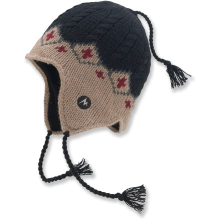 Ski The Marmot Raria Earflap hat offers everything you want from a winter hat-warmth, comfort and style. Wool and acrylic blend supplies the best attributes of both: the natural warmth and durability of wool and the easy care and softness of acrylic. Polyester fleece lining is soft against skin and offers extra warmth. Closeout. - $16.83