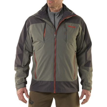 Ski The Marmot Gorge Component 3-in-1 jacket offers layering options for versatility in the snow. Wherever your priorities lie, this waterproof shell and thermal liner jacket combo will do the trick. 2-layer Marmot MemBrain(R) waterproof and breathable nylon shell increases comfort by reducing chill effect of condensation build-up; 100% seam-taped. Removable Thermal R liner jacket wicks moisture from the inside out and adds insulating warmth, or can be worn alone. Attached storm hood with laminated brim protects you in poor conditions. Angel-Wing Movement(TM) provides a roomy fit that won't pull or bind, and can accommodate layering. Zippered chest, handwarmer and internal pockets and bonus interior mesh storage pocket provide ample space for stashing accessories. PitZips(TM) extend into the body of the Marmot Gorge Component 3-in-1 insulated jacket, offering excellent ventilation control. Rip-and-stick cuffs and zip-off powder skirt help seal warmth in when riding deep powder. - $244.93