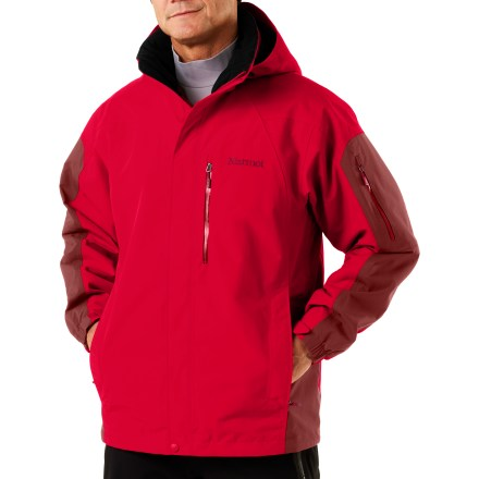 Ski With purity of design, the Marmot Tamarack jacket offers great style for skiing, hiking or everyday cold-weather use. 2-layer Marmot MemBrain(R) waterproof and breathable nylon shell increases comfort by reducing chill effect of condensation build-up; 100% seam-taped. Angel-Wing Movement(TM) provides a roomy fit that won't pull or bind, and can accommodate layering. Reinforced shoulders and elbows add abrasion resistance; zip-off hood easily adjusts to perfect the fit. PitZips(TM) extend along body of jacket, offering excellent ventilation control. Adjustable cuffs and a powder skirt with elastic gripper keep out the spindrift and retain warmth. Features laser-drilled sleeve and chest pockets with water-resistant zippers; handwarmer pockets. Soft polyester-lined chin guard and brushed-tricot collar and shoulder lining reduce skin irritation. Zippin(TM) feature lets you zip in compatible Marmot mid layer insulating pieces. Elastic drawcord hem on the Marmot Tamarack shell jacket keeps chill out and warmth in. - $156.93