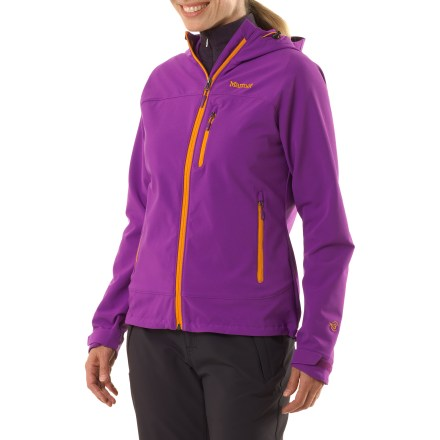 The Marmot Tempo soft-shell jacket is extremely breathable and performs well during highly aerobic activities in dry, mild weather-it offers protection from light wind and precipitation. Double weave soft-shell fabric breathes well and features easy-to-move-in stretch; it repels light wind and has a Durable Water Repellent finish to help repel light rain. Adjustable hood ensures a good fit during difficult weather. Full-length front zipper with chin guard. Drawcord hem and adjustable cuffs seal in warmth. Marmot Tempo jacket has 2 zip hand pockets and a zip chest pocket with a headphone port. Angel-Wing Movement(TM) allows unencumbered range motion. - $66.83
