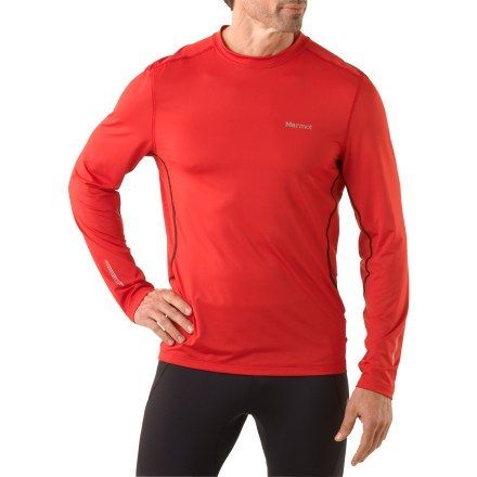 Fitness The Marmot Stride T-shirt works best when combined with lots of clean, fresh air and a trail that goes uphill. Quick-drying, moisture-wicking polyester fabric helps keep skin safe from harsh UV light with a UPF rating of 30. Mesh fabric panels increase breathability. Flatlock seams reduce chafing. The Marmot Stride T-shirt is semifitted. - $34.93