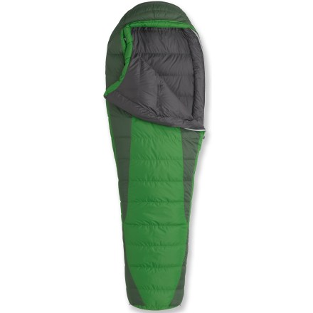 Camp and Hike Don't let the summer end! The Marmot Never Winter +30degF sleeping bag is an excellent down bag for summer outings, yet warm enough when nighttime temps take a dip. Quality 600-fill-power goose down insulation is protected by a tough nylon ripstop shell. 5-baffle hood envelops your head in warmth, and the face muff allows hood to be cinched snug without digging into your face. Locking, 2-way zipper prevents bag from inadvertently opening during the night; heat-bump draft tube backing the zipper seals out the cold and reflects heat back to your body. Zipper guards prevent material from snagging in zipper; reversible zipper pulls work easily inside or outside of the bag. Trapezoidal footbox allows down to loft fully around your feet for optimum warmth and comfort; pocket in footbox accepts handwarmer packets (not included) to boost warmth. Baffles are made with stretch tricot, providing strength and long-lasting wear; vertical side baffles keep down in place. Ground-level side seams eliminate cold air leaks. No more midnight drawcord fumbling-smooth, flat upper cord and hard, round lower cord make hood and collar adjustments easy. Stash pocket holds nighttime essentials within easy reach; heater pocket in footbox allows you to place toe warmer packets (sold separately) for a boost in warmth. Includes stuff sack and large storage bag. European Norm (EN) is an independent third-party temperature rating, allowing accurate comparisons across brands with other EN-rated bags. - $179.93