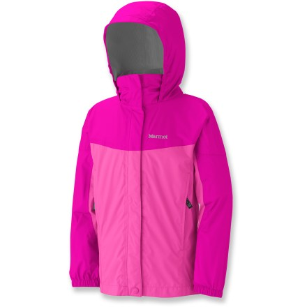 The girls' Marmot PreCip rain jacket is waterproof, durable, breathable and extremely light. It offers excellent protection from rain without weighing her down. 2.5-layer PreCip(R) polyurethane coating offers waterproof protection, and is specially formulated for excellent durability and breathability. Fully taped seams ensure waterproofness. DryTouch(R) technology reduces condensation and that sticky, clammy feeling next to skin. Compact design packs small to take up little space in pack, making jacket perfect to take along just in case. Articulated sleeves allow unrestricted movement. Attached hood and elastic cuffs with rip-and-stick adjustment enhance protection. 2 zippered pockets stow items safely and securely; slanted design allows easy access while wearing a pack. The Marmot PreCip rain jacket features a double stormflap protecting front zipper from the elements; soft, lined chin guard ensures abrasion-free comfort. - $31.83
