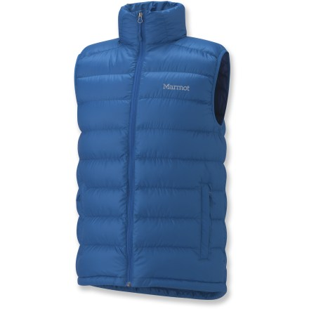 Stay warm! The Marmot Zeus down vest is a great way to stock up on warmth without bulking up your pack or your layers. Water-resistant, ultralight downproof ripstop shell surrounds premium 800-fill-power goose down; Durable Water Resistant finish repels moisture and stains. Draft flap behind front zipper keeps breezes out; chin guard protects from abrasion. Features a drawcord hem and zippered handwarmer pockets; interior pocket doubles as a stuff sack. Closeout. - $66.83