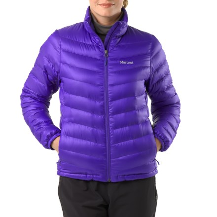 The Marmot Jena jacket offers highly compressible, down-filled warmth. You'll certainly wear it alone, but its slim profile makes it the perfect mid layer in truly cold conditions. - $48.83