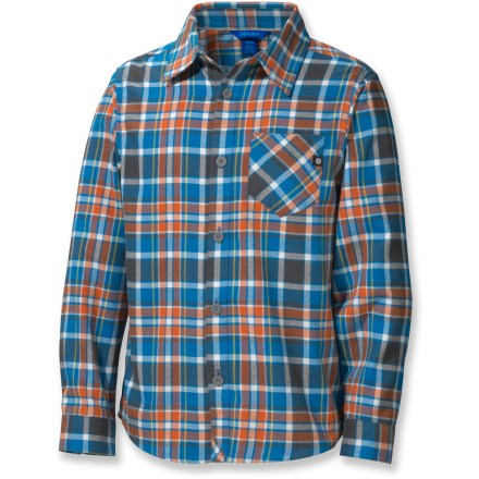 Boys who don the soft, breathable Marmot Cliffs flannel shirt will warm up while walking to school or just hanging out on a cool afternoon. Quick-drying, moisture-wicking polyester flannel fabric gives you plenty of warmth without the weight. Fabric provides UPF 30 sun protection, shielding skin from harmful ultraviolet rays. - $23.83