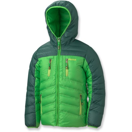 Snowboard The boys' Marmot Hangtime down hoodie jacket provides light and warm comfort for extreme cold. Use it as a thermal mid layer underneath a waterproof shell for great protection against wet and cold. - $71.83
