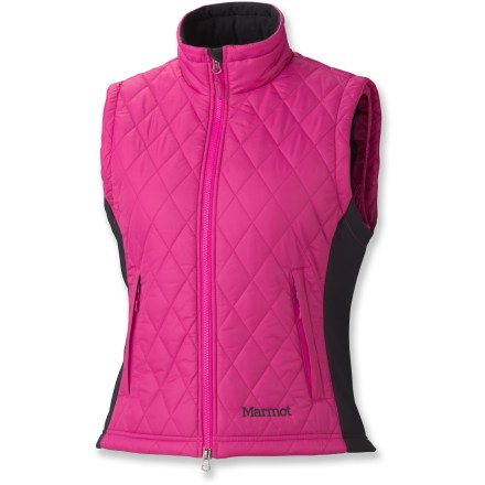 Ski Style and warmth blend perfectly in the Marmot Kitzbuhel vest. Keep your core warm whether at the crag, on the ski slopes or exploring far-off lands. Quilted durable ripstop polyester outer surface features a Durable Water Repellent finish to shed light moisture. Thermal R(TM) is a high-loft, compressible, synthetic insulation that maintains consistent density and boasts outstanding recovery. Polyester lining easily slides over base layers. Stretch side panels perfect the fit. Zippered interior pocket and zippered handwarmer pockets. - $69.93