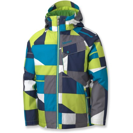 Snowboard The colorful Marmot Mantra Geo jacket combines fiesta-like fun with waterproof and breathable protection for all-day comfort while freeriding the slopes or playing in the rain. MemBrain(R) waterproof, breathable polyester shell repels moisture to help keep kids dry. Brushed tricot lining in the collar and shoulders adds soft comfort. Angel-Wing Movement(TM) sleeves allow full range of arm motion and prevent jacket from rising up when arms are raised. The Marmot Mantra Geo jacket features zippered hand pockets and chest pocket, internal pocket and powder skirt. - $76.83