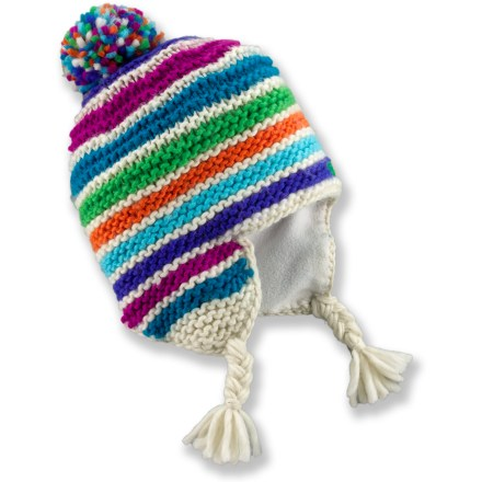 Entertainment The Marmot Olivia hat is a warm and whimsical companion for winter wanderings with playful stripes, tasseled earflaps and a playful pom. Acrylic outer fabric is lined on the inside with a moisture-wicking microfleece headband for no-itch comfort. - $20.83