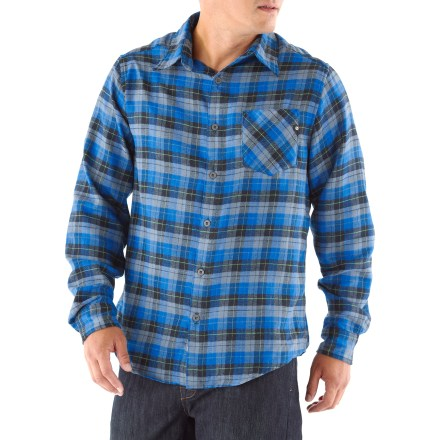 Camp and Hike The Marmot San Onofre Flannel shirt hides its performance features behind a stylish look that fits in around town or on the trail. Soft cotton fabric is blended with Coolmax(R) polyester for a great balance of comfort and performance. Coolmax polyester helps the shirt wick moisture and dry quickly. With a UPF 50+ rating, fabric provides excellent protection against harmful ultraviolet rays. Single chest pocket holds a few small essentials. The Marmot San Onofre Flannel shirt has a regular fit. - $54.93