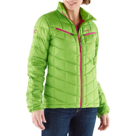 The down-insulated Marmot Safire jacket is great for winter activities in cold, dry weather. It surrounds you in lightweight warmth without weighing you down. Durable recycled polyester fabric surrounds warm, compressible 650-fill-power goose down; baffles keep down from shifting to reduce cold spots. Smooth reverse-coil center front zipper with internal windflap keeps drafts from penetrating. Marmot Safire jacket features nicely finished elastic bound cuffs. 2 zip chest pockets hold small stuff. Regular cut is not too tight and not too loose; it's just right. - $81.83