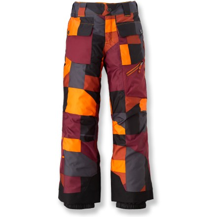 Snowboard The Marmot Mantra Geo insulated pants blend fun hillside style with high-performance protection from the elements to give your young snow player the edge he needs. 2-layer MemBrain(R) waterproof breathable fabric and taped seams block out moisture. Polyester insulation traps body heat for all-day warmth; tricot lining adds soft comfort. The Marmot Mantra Geo insulated pants feature a plethora of pockets, adjustable snap-closure waist, articulated knees and internal gaiters with gripper elastic. - $49.83