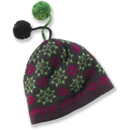 Entertainment With 2 pom-poms on top and a colorful pattern, the Marmot Jenna hat adds fun style to your winter wear. Polyester knit exterior has a soft microfleece headband lining for great comfort. - $25.93