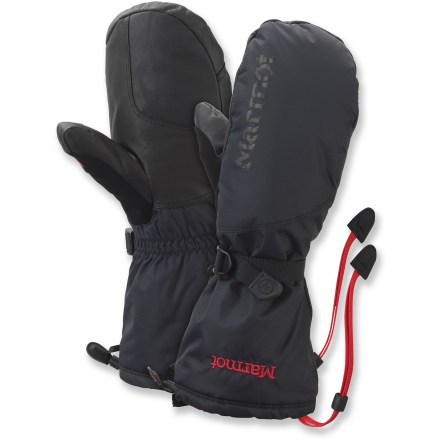 The warm, waterproof Marmot Expedition mittens keep your fingers toasty on cold winter mornings and climbs at high elevations. - $115.00
