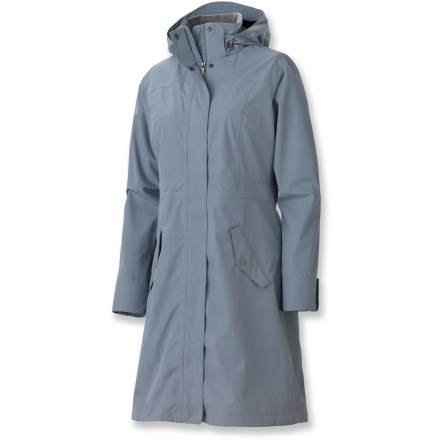 The Marmot Destination Novelty Raincoat offers the same functional features of your favorite rain shell in a classic trench-style urban coat-this 1 comes in a beautiful tonal-plaid fabric. MemBrain(TM) 2-layer stretch fabric is waterproof and breathable to reduce condensation and increase next-to-skin comfort. Soft polyester taffeta lining wicks moisture and adds warmth. All seams are taped to reduce moisture seepage. Zip-off hood is fully adjustable for customized coverage and a clear view. Full-length front zipper has 2-way action and a windflap with rip-and-stick closures; also provides a snap closure at the hem. DriClime(TM)-lined chin guard provides a soft feel next to skin. Cuffs have decorative snap tabs; rear kick pleats. External waistbelt tapers the fit of the Marmot Destination Novelty jacket. Organizational features include 2 zip hand pockets, an interior zipper pocket, an interior airline ticket pocket and an interior hood pocket. - $174.93